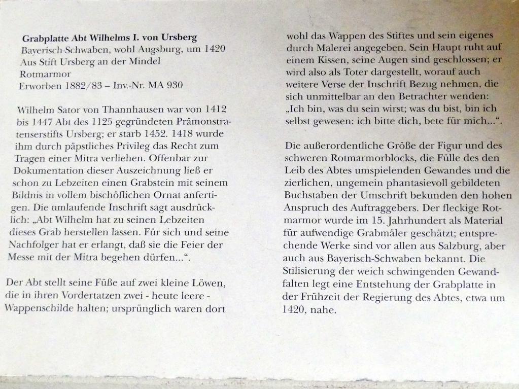 Grabplatte Abt Wilhelms I. von Ursberg, um 1420, Bild 2/2