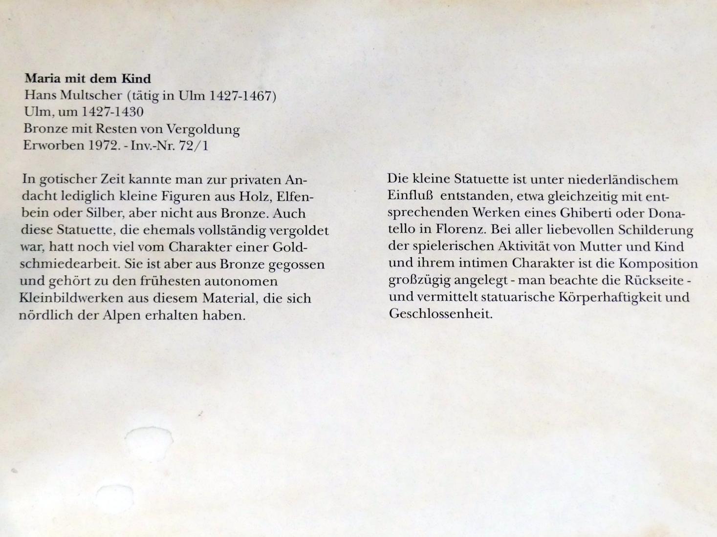 Hans Multscher: Maria mit dem Kind, Um 1427 - 1430