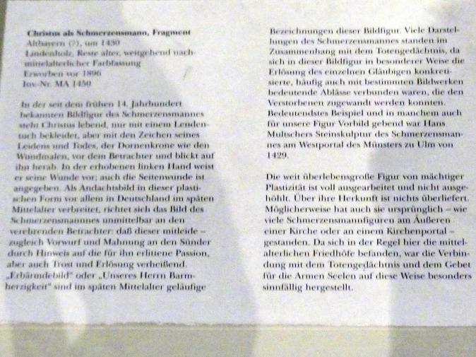 Christus als Schmerzensmann, Fragment, um 1430, Bild 4/4