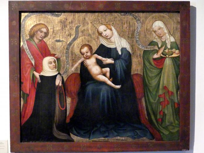 Epitaph einer Nonne, vom heiligen Johannes der Gottesmutter empfohlen, links die heilige Elisabeth, Um 1420 - 1430
