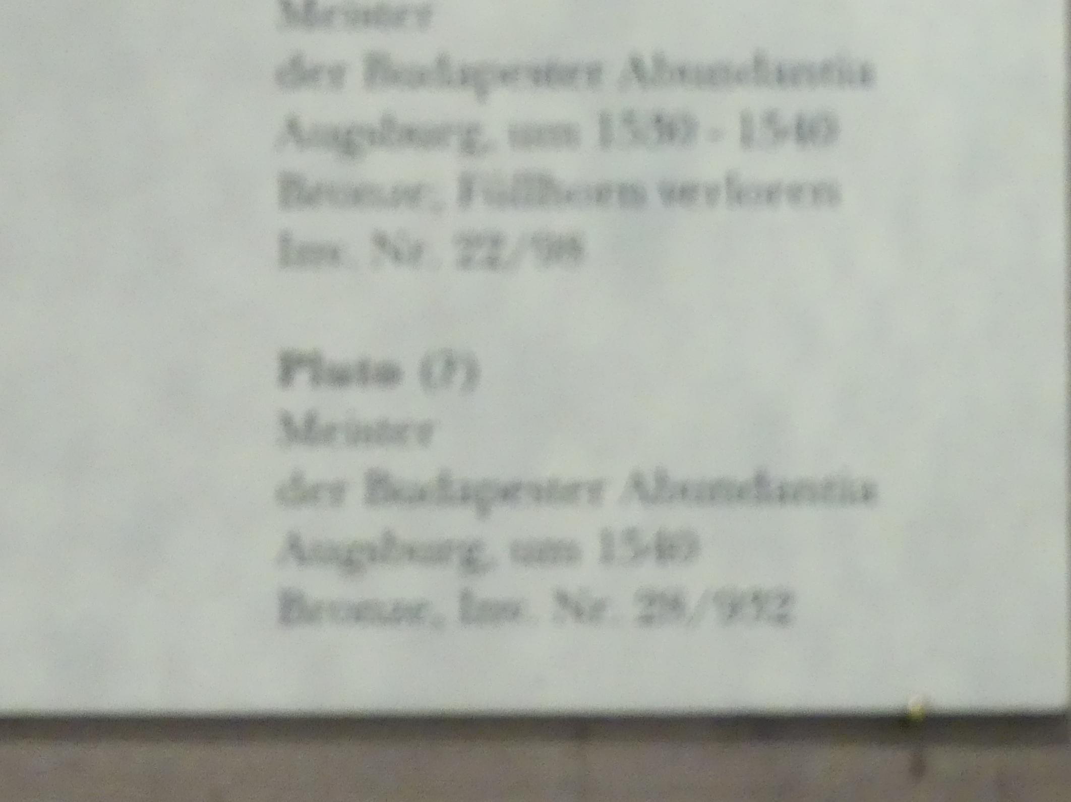 Meister der Budapester Abundantia: Pluto (?), Um 1540