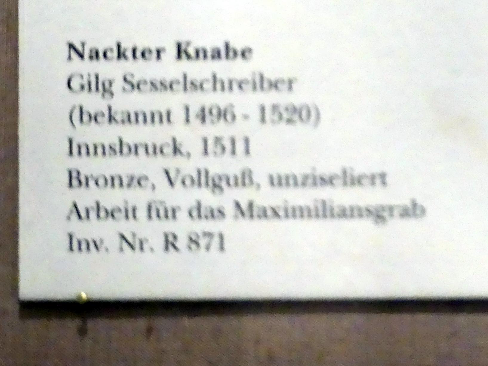 Gilg Sesselschreiber: Nackter Knabe, 1511