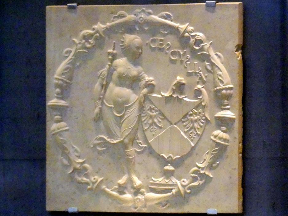 Thomas Hering: Jacobäa, Herzogin von Bayern, geb. Markgräfin von Baden mit fünf Ahnenwappen, um 1535 - 1540, Bild 3/8