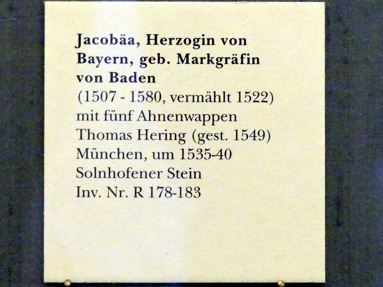 Thomas Hering: Jacobäa, Herzogin von Bayern, geb. Markgräfin von Baden mit fünf Ahnenwappen, um 1535 - 1540, Bild 8/8