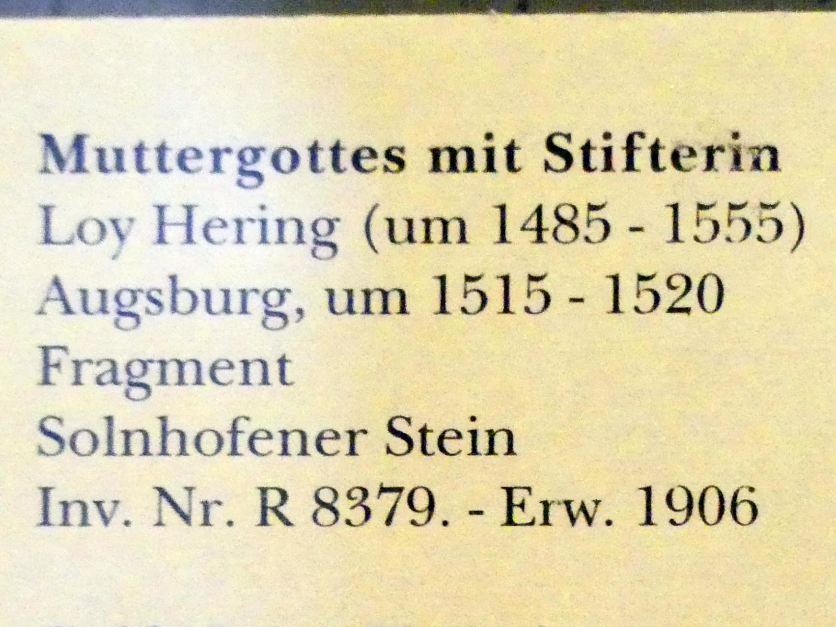 Loy Hering: Muttergottes mit Stifterin (Fragment), um 1515 - 1520, Bild 2/2