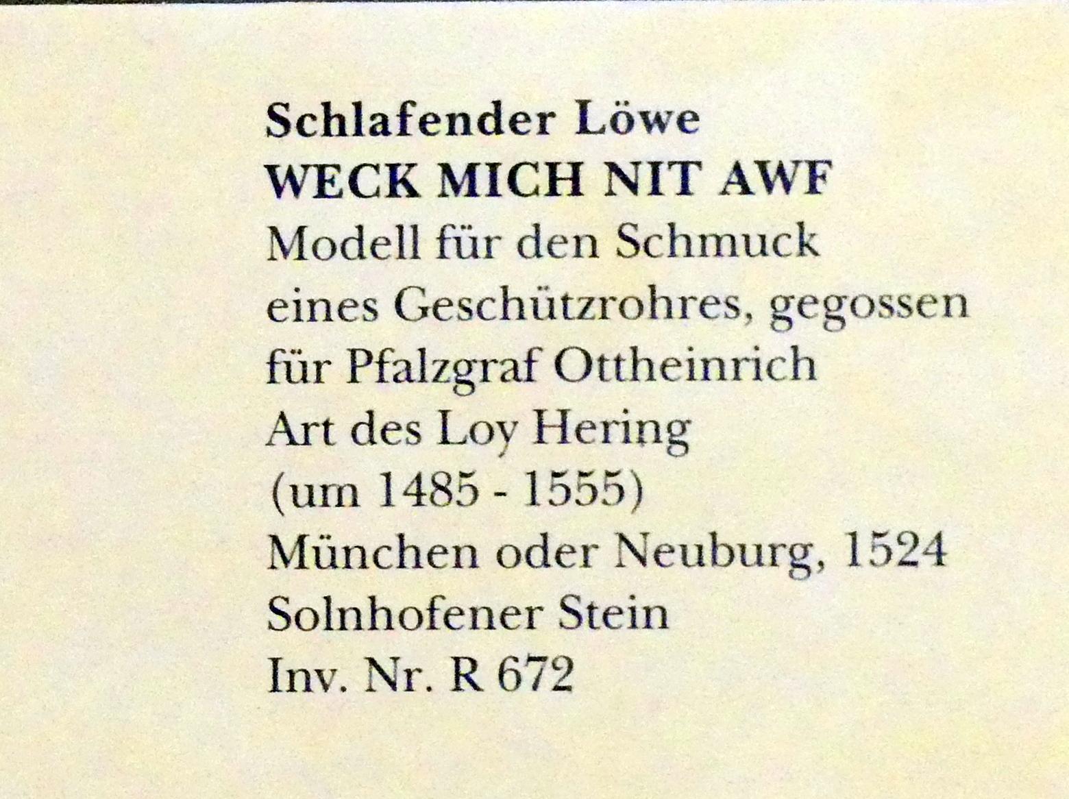 Schlafender Löwe WECK MICH NIT AWF, 1524