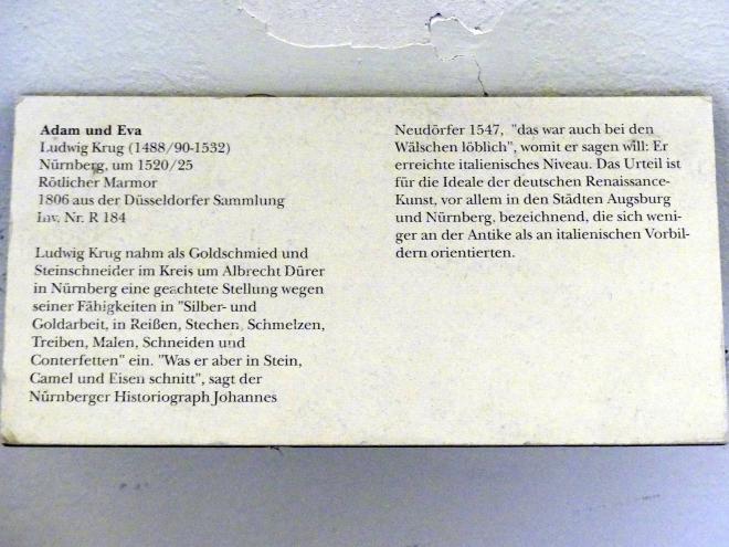Ludwig Krug: Adam und Eva, Um 1520 - 1525