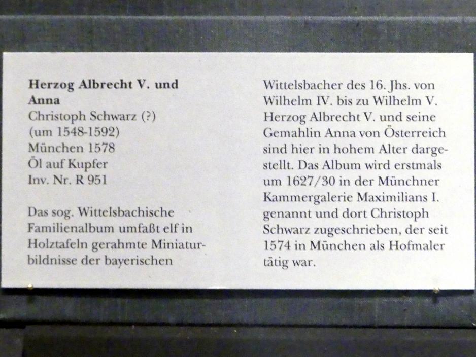 Christoph Schwarz: Herzog Albrecht V. und Anna, 1578