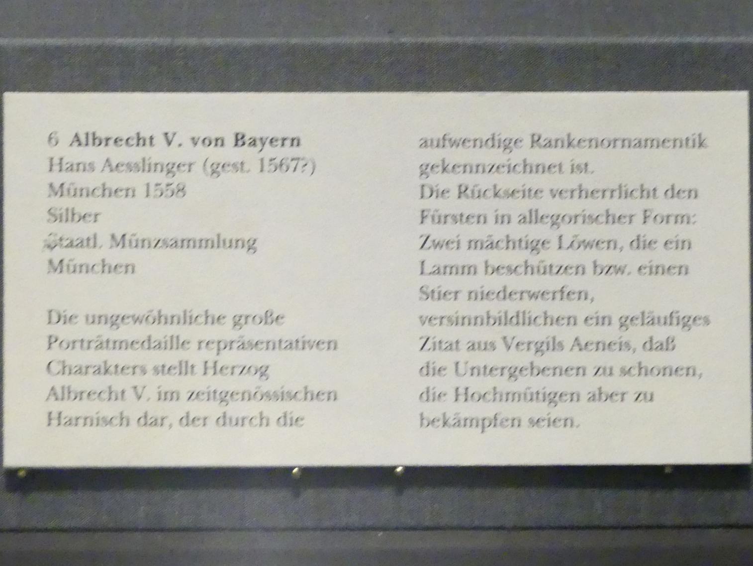 Hans Aesslinger: Albrecht V. von Bayern, 1558, Bild 2/2