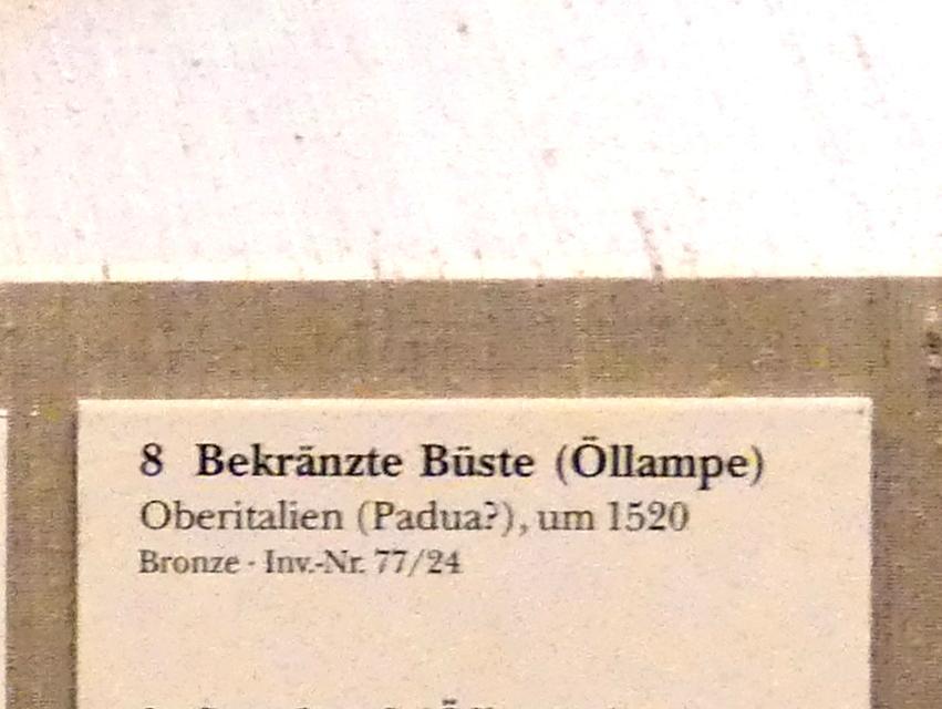 Bekränzte Büste (Öllampe), Um 1520
