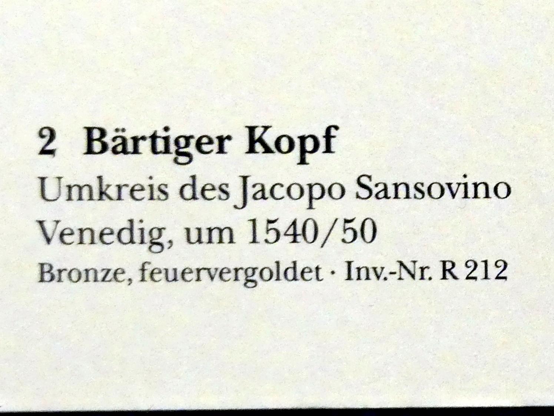Jacopo Sansovino (Jacopo Tatti) (Umkreis): Bärtiger Kopf, um 1540 - 1550, Bild 2/2