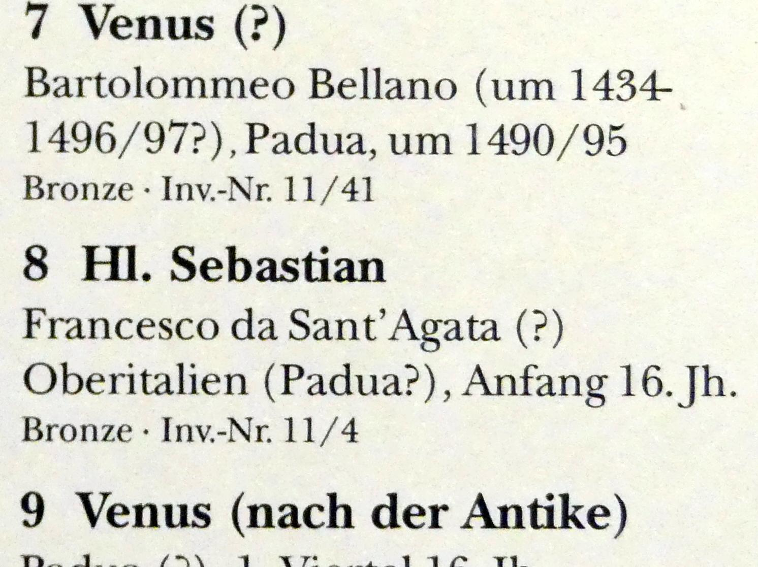 Francesco da Sant'Agata: Hl. Sebastian, Beginn 16. Jhd.