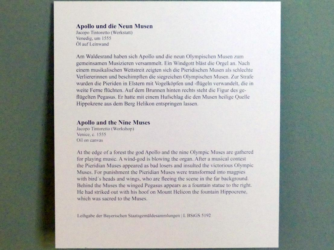 Tintoretto (Jacopo Robusti) (Werkstatt): Apollo und die Neun Musen, um 1555, Bild 2/2