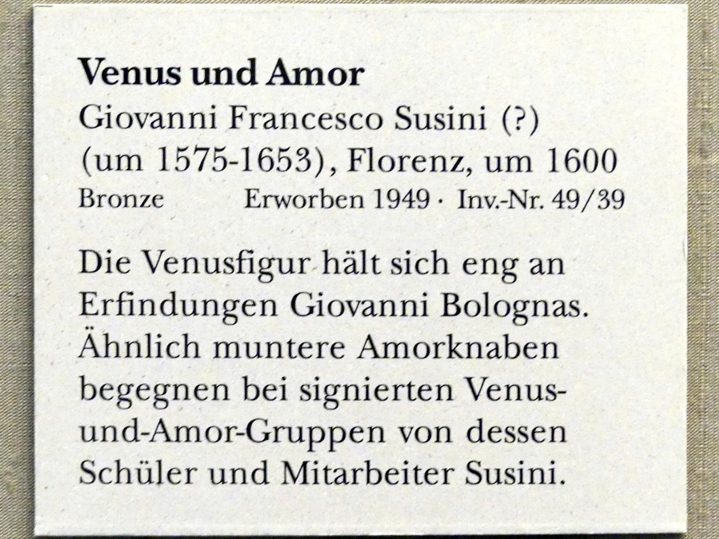 Giovanni Francesco Susini: Venus und Amor, Um 1600