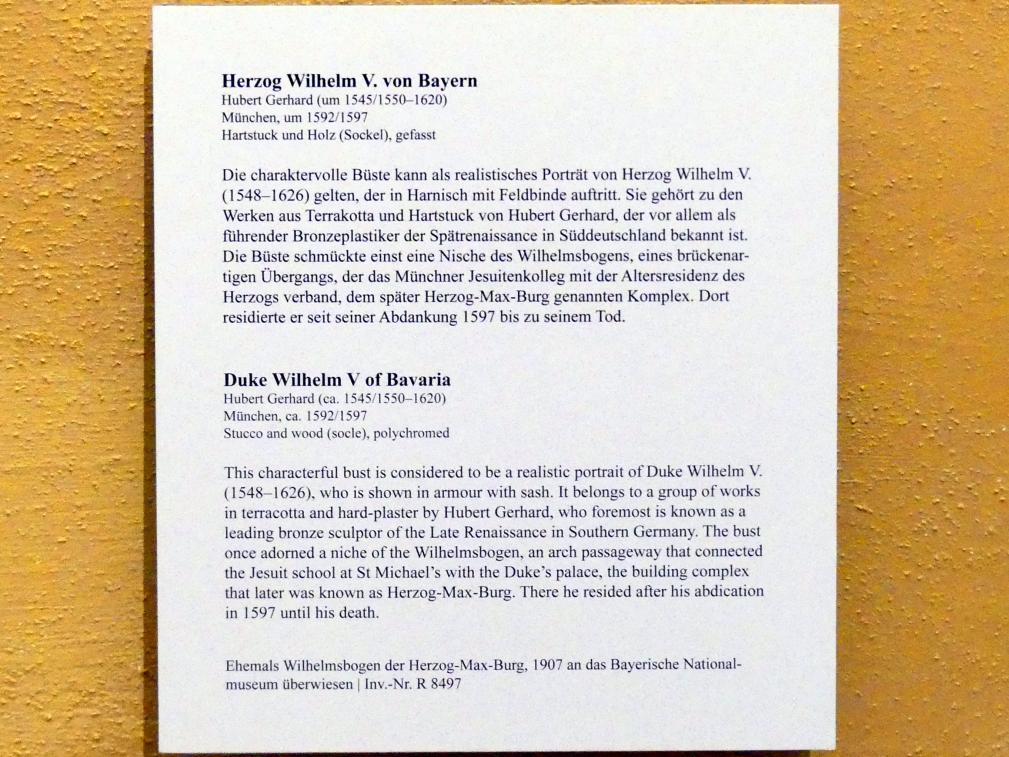 Hubert Gerhard: Herzog Wilhelm V. von Bayern, um 1592 - 1597, Bild 3/3