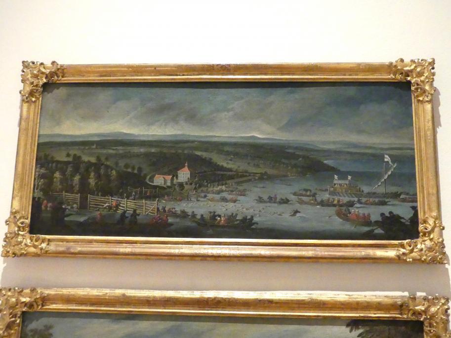 Ignatius Bidermann: Hirschjagd auf dem Starnberger See am 23. Mai 1727, Um 1727