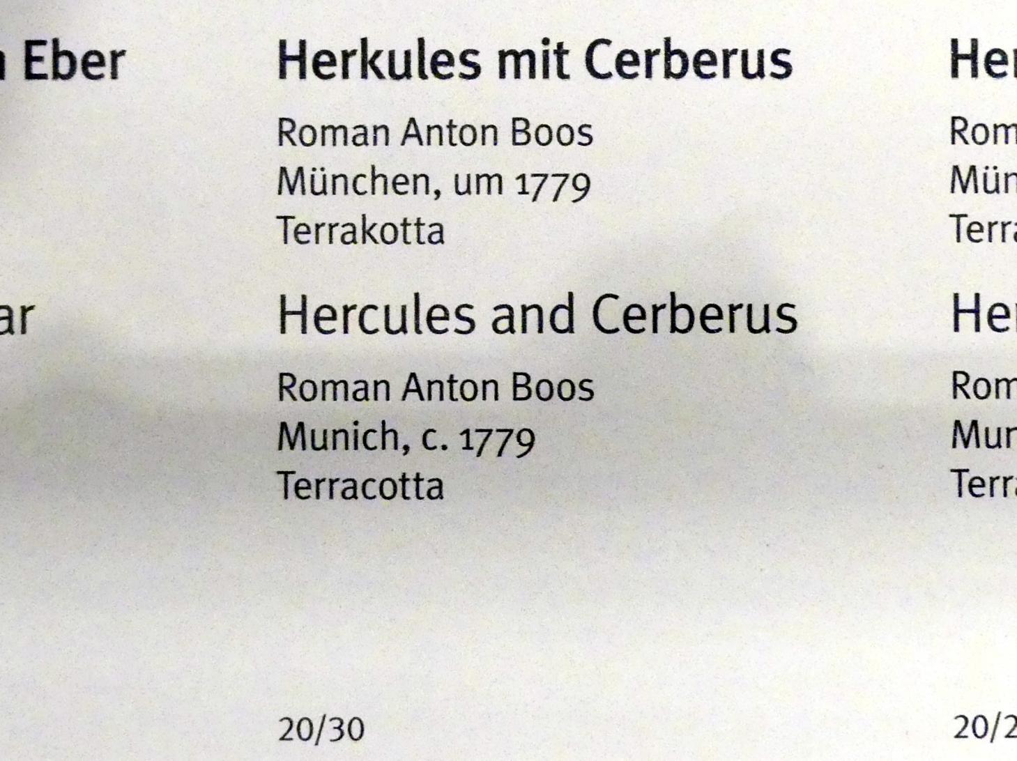 Roman Anton Boos: Herkules mit Cerberus, Um 1779