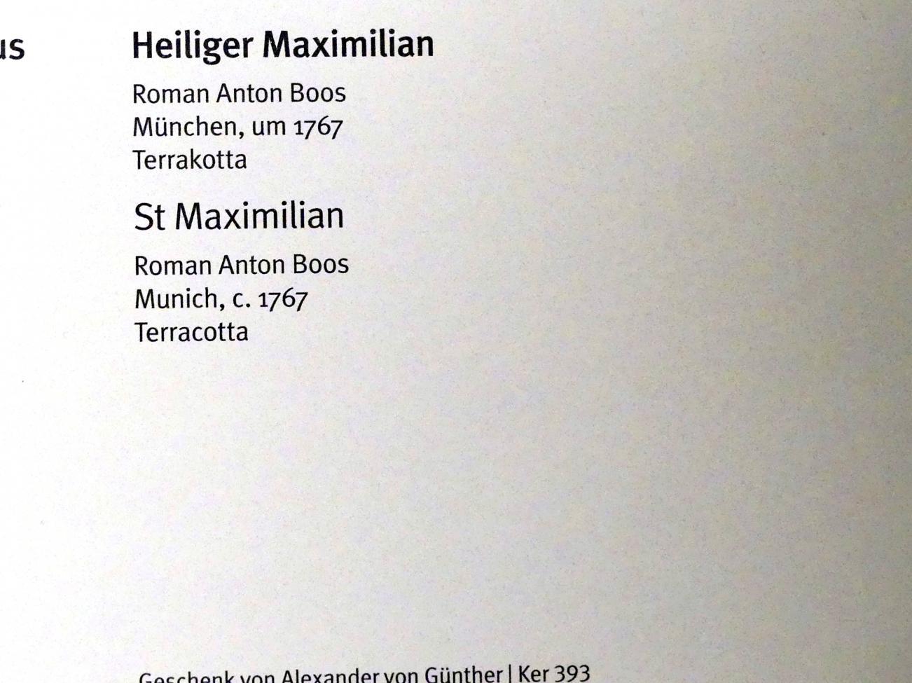 Roman Anton Boos: Heiliger Maximilian, um 1767, Bild 3/3