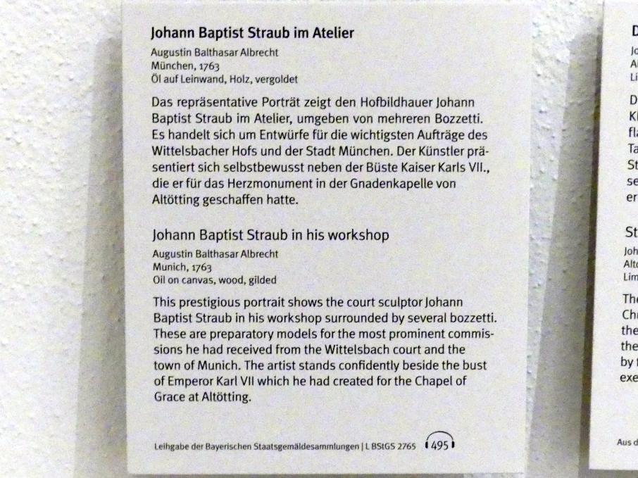 Balthasar Augustin Albrecht: Johann Baptist Straub im Atelier, 1763, Bild 2/2