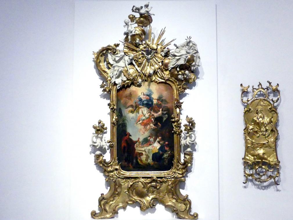 Johann Nepomuk Schöpf: Altaraufsatz mit der Himmelfahrt Mariens und der Heiligen Dreifaltigkeit, um 1765