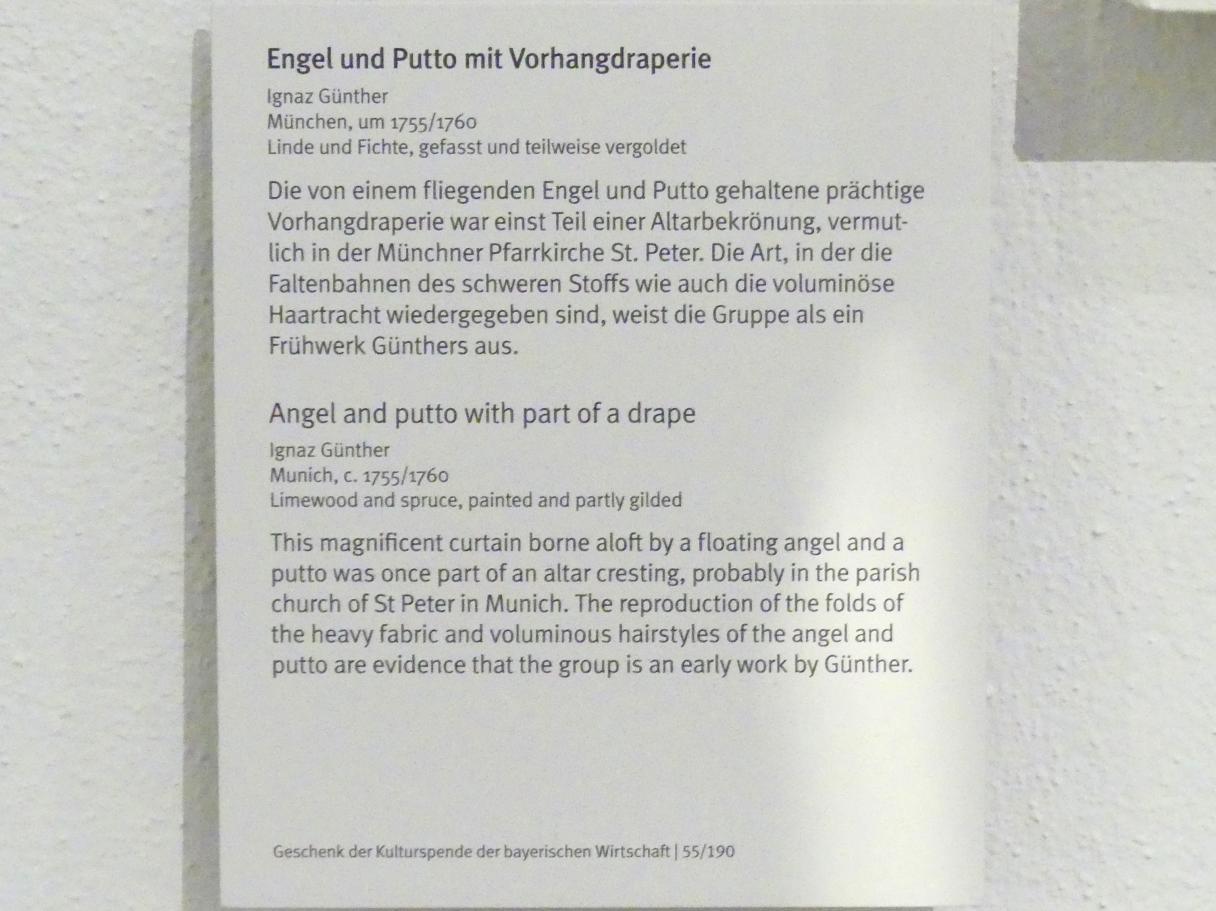 Ignaz Günther: Engel und Putto mit Vorhangdraperie, Um 1755 - 1760