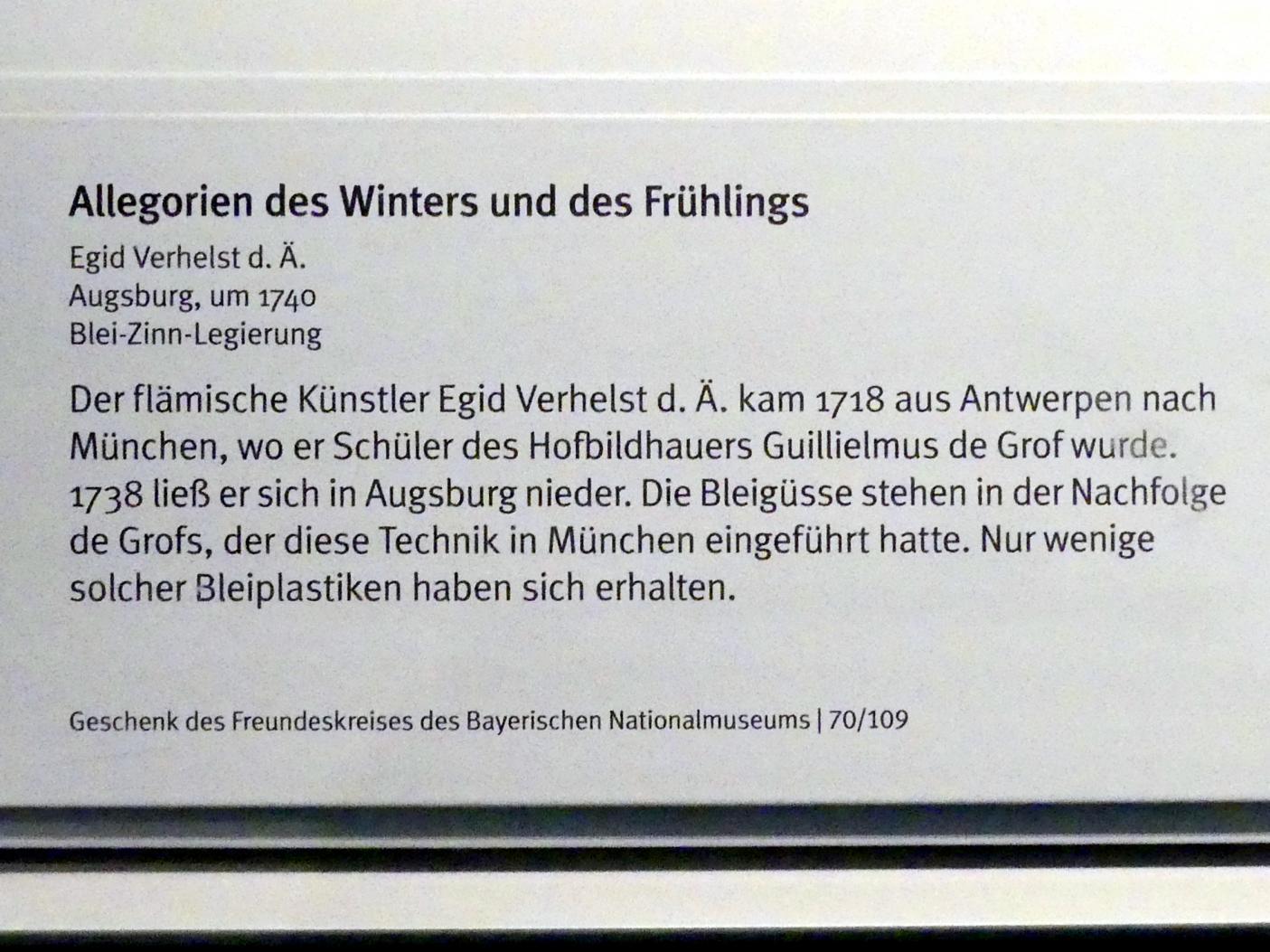 Egid Verhelst der Ältere (Aegid Verhelst): Allegorien des Winters und des Frühlings, Um 1740