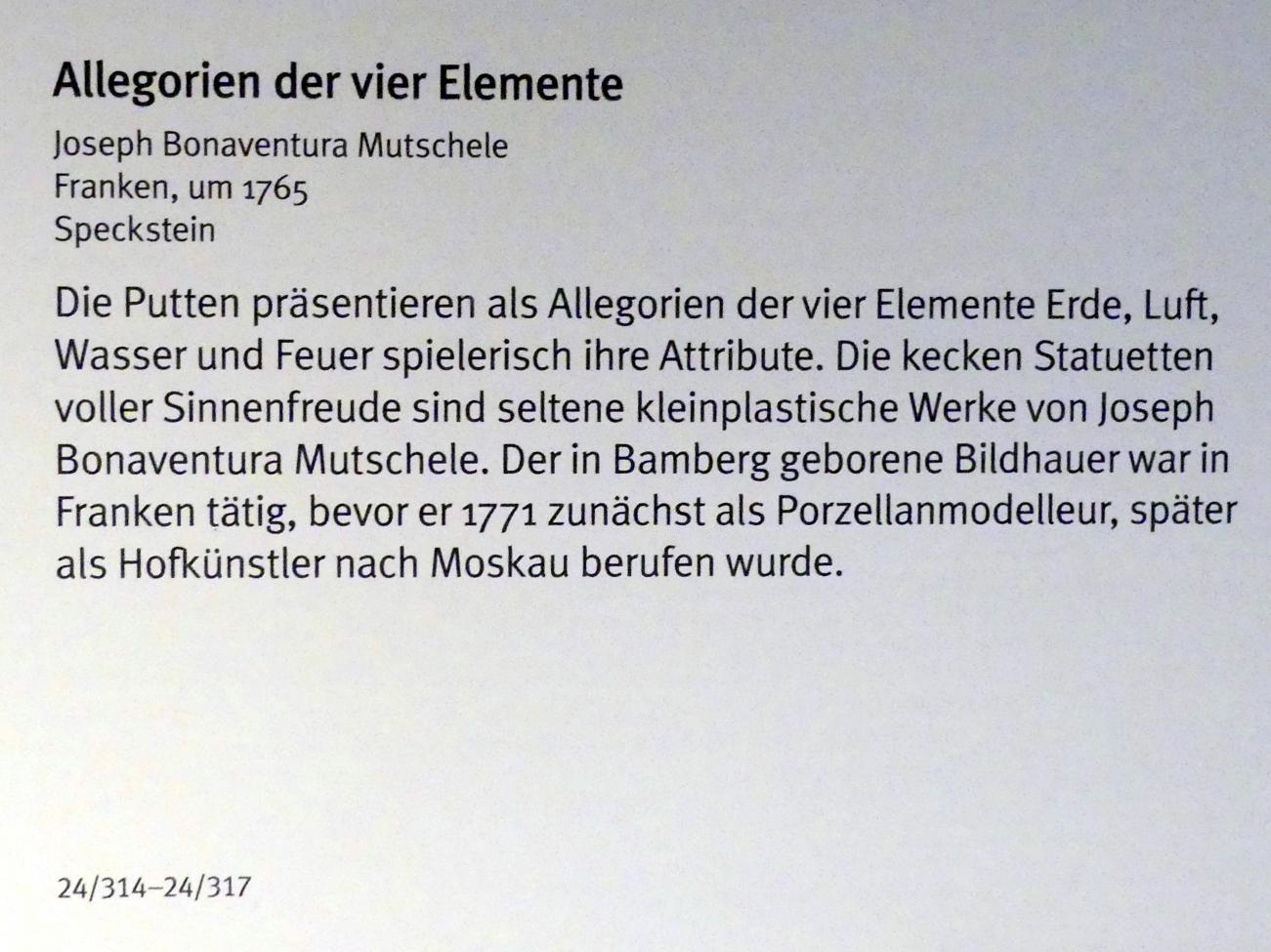 Joseph Bonaventura Mutschele: Allegorien der vier Elemente: Feuer, um 1765, Bild 2/3