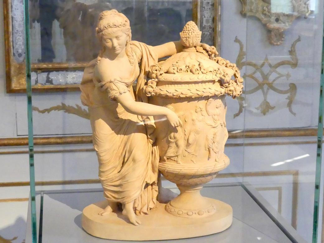 Johann Valentin Sonnenschein: Junge Frau eine antike Vase mit Rosen bekränzend, 1780