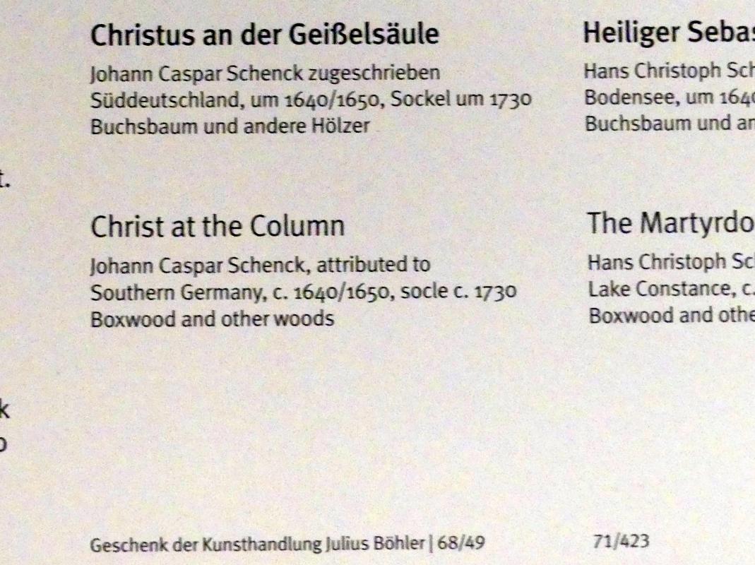 Johann Caspar Schenck: Christus an der Geißelsäule, Um 1640 - 1650