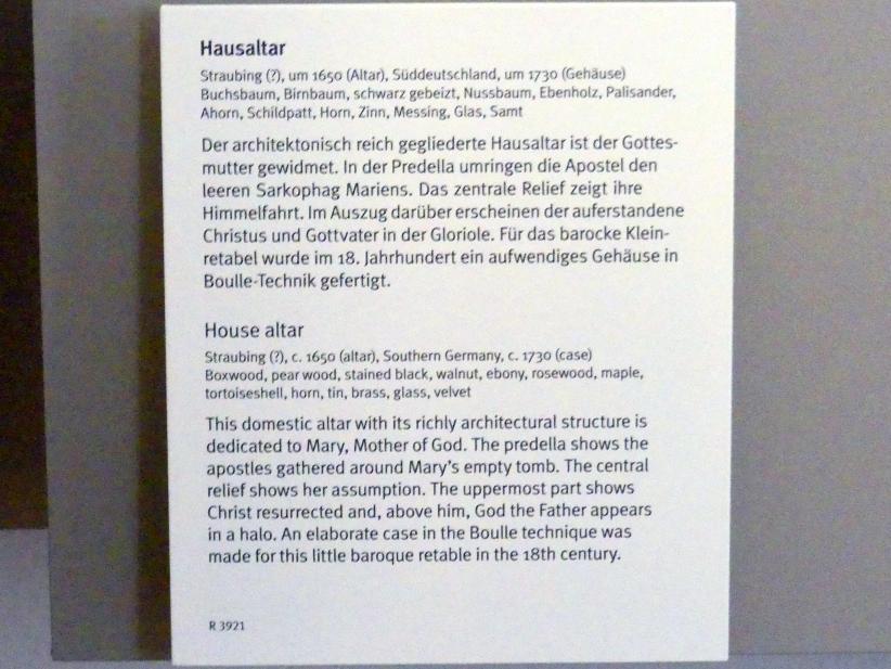 Hausaltar, um 1650, Bild 2/2