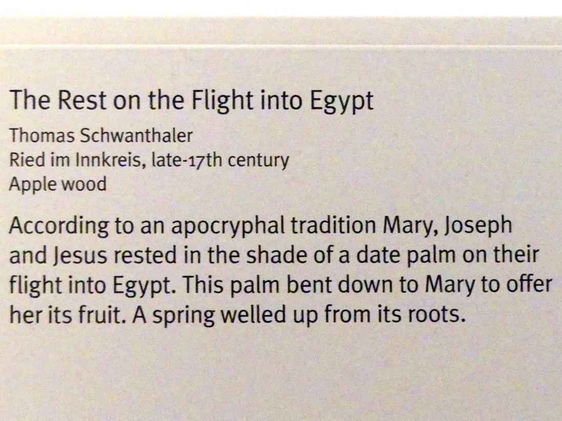 Thomas Schwanthaler: Ruhe auf der Flucht nach Ägypten, Ende 17. Jhd.