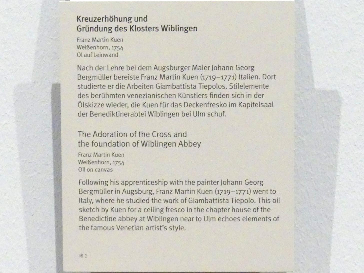 Franz Martin Kuen: Kreuzerhöhung und Gründung des Klosters Wiblingen, 1754