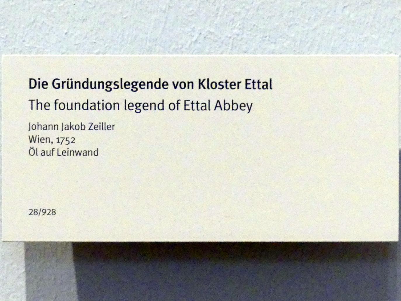 Johann Jakob Zeiller: Die Gründungslegende von Kloster Ettal, 1752, Bild 2/2