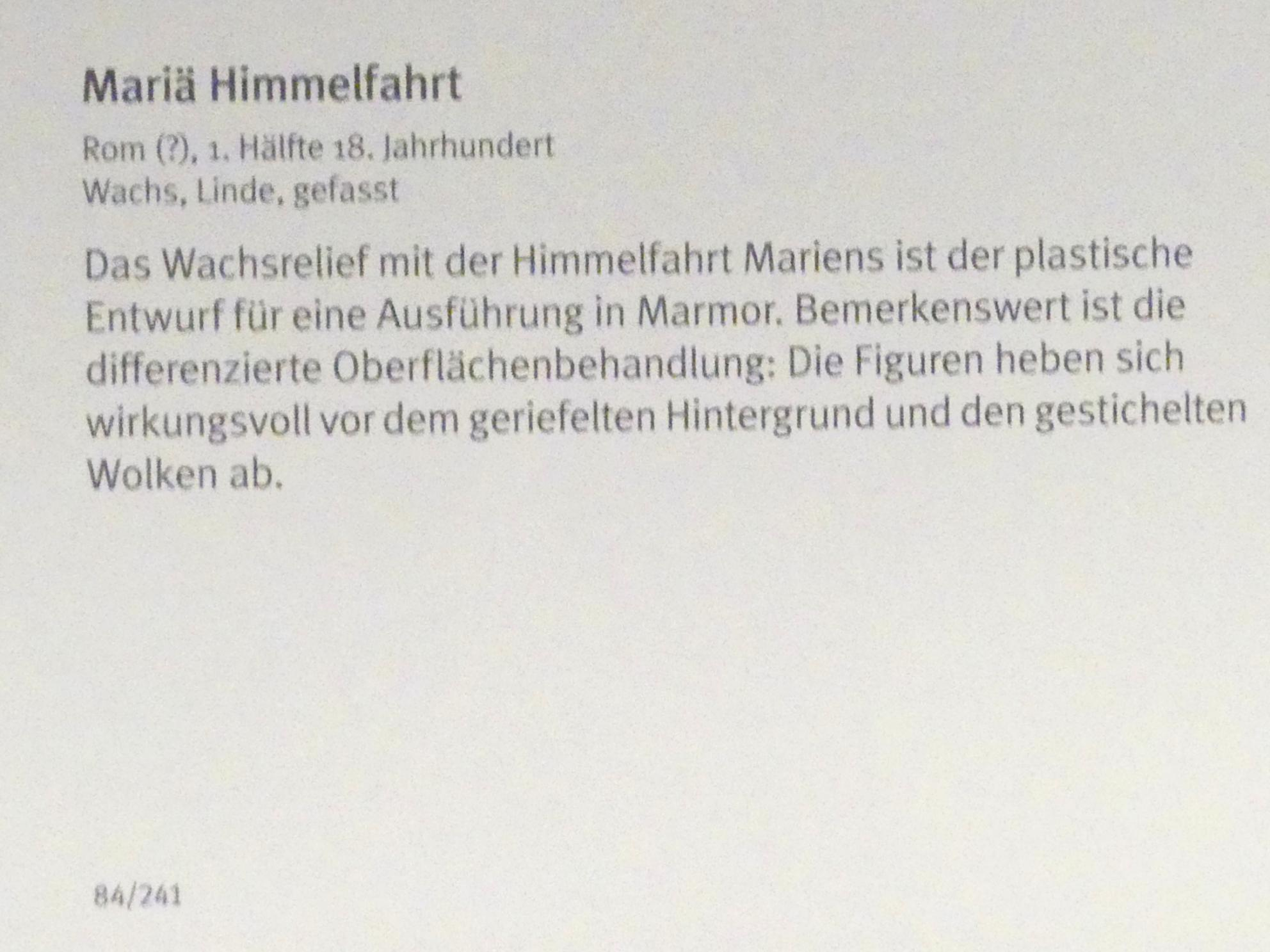 Mariä Himmelfahrt, 1. Hälfte 18. Jhd.