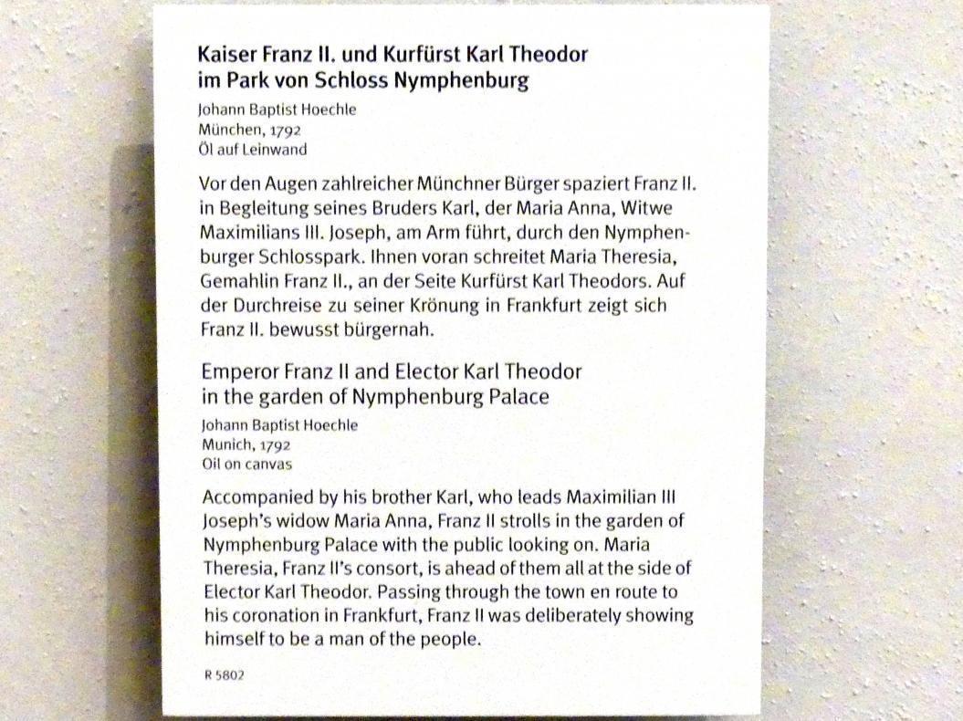 Johann Baptist Hoechle: Kaiser Franz II. und Kurfürst Karl Theodor im Park von Schloss Nymphenburg, 1792