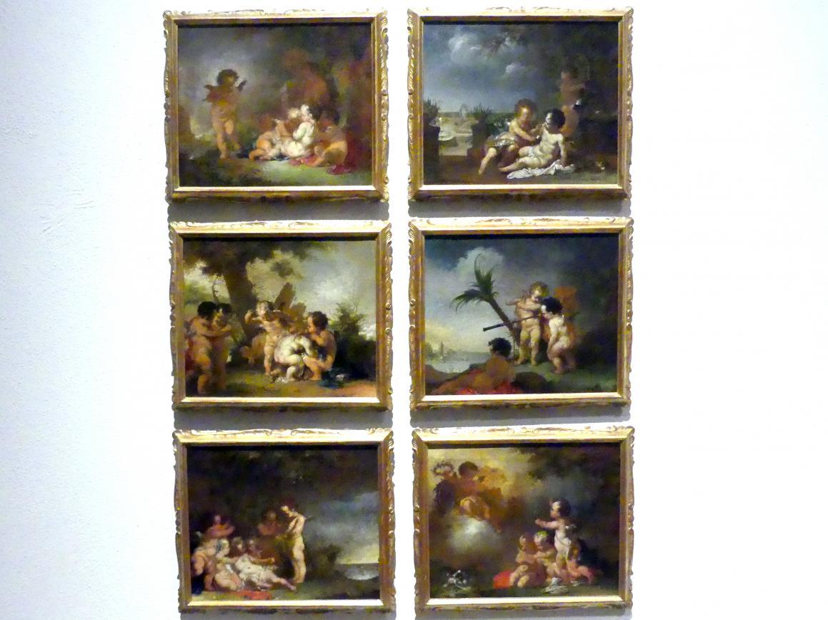 Januarius  Zick: Allegorien auf die fünf Sinne und die Liebe, Um 1770 - 1780