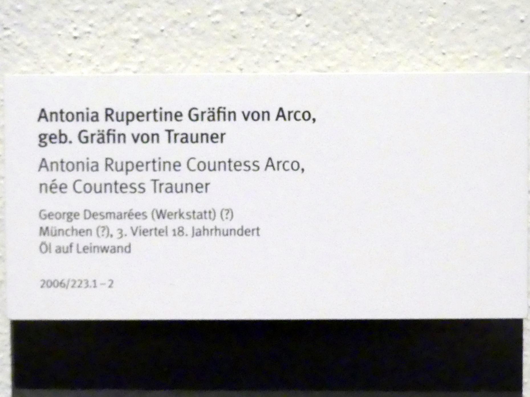 George Desmarées (Werkstatt): Antonia Rupertine Gräfin von Arco, geb. Gräfin von Trauner, 3. Viertel 18. Jhd., Bild 2/2
