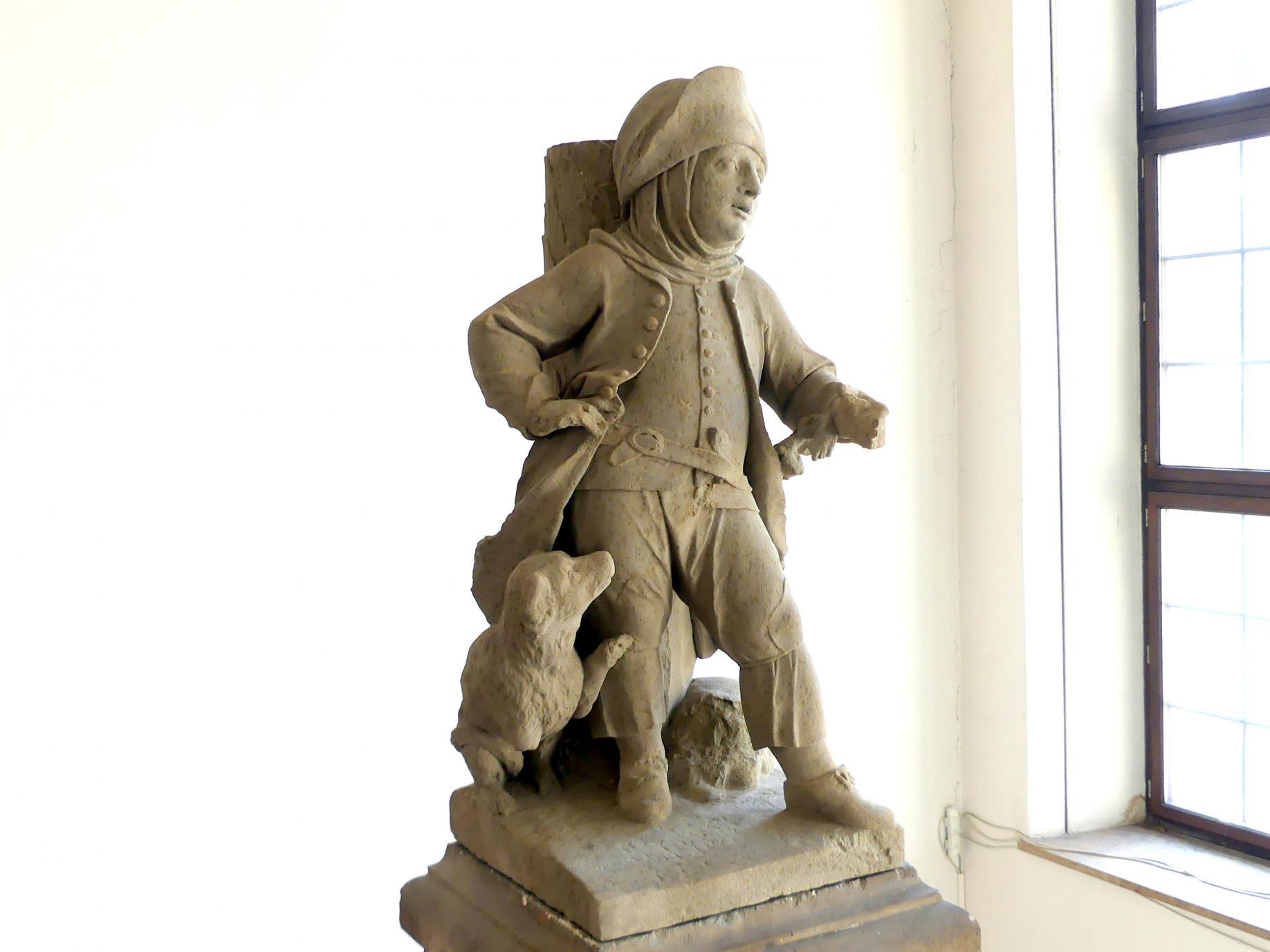 Johann Peter Wagner: Knabe mit Hund, Reisig tragend (Besenbinder ?), Um 1775