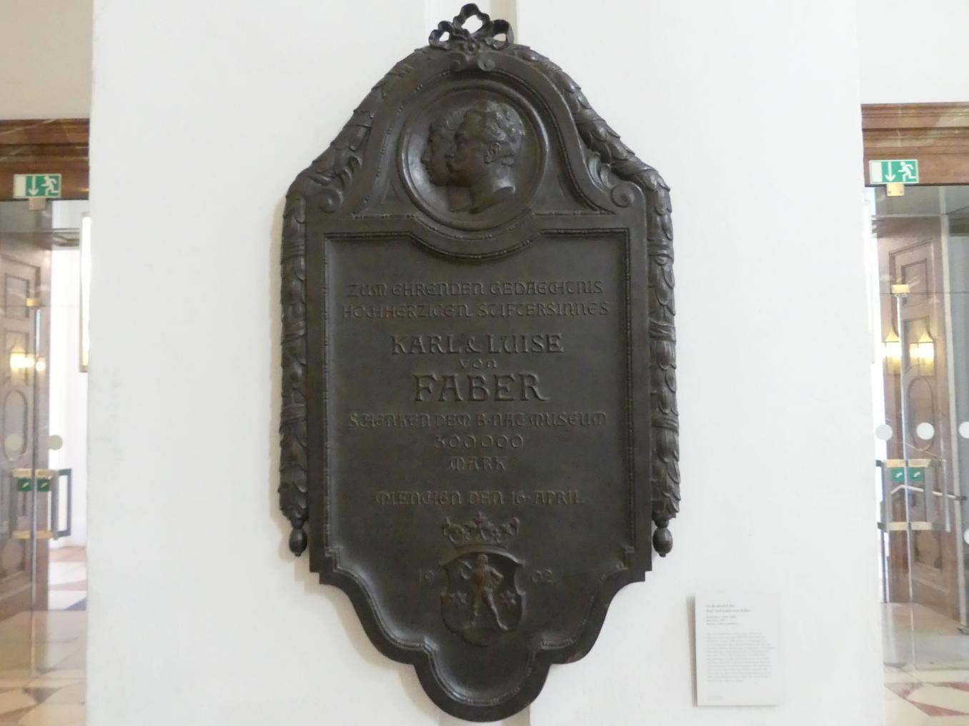Erwin Kurz: Gedenktafel für Karl und Luise von Faber, 1903