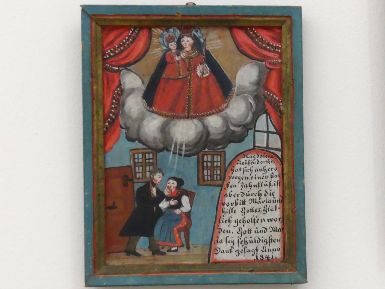 Votivtafel: Heilung von Zahnschmerz, 1841