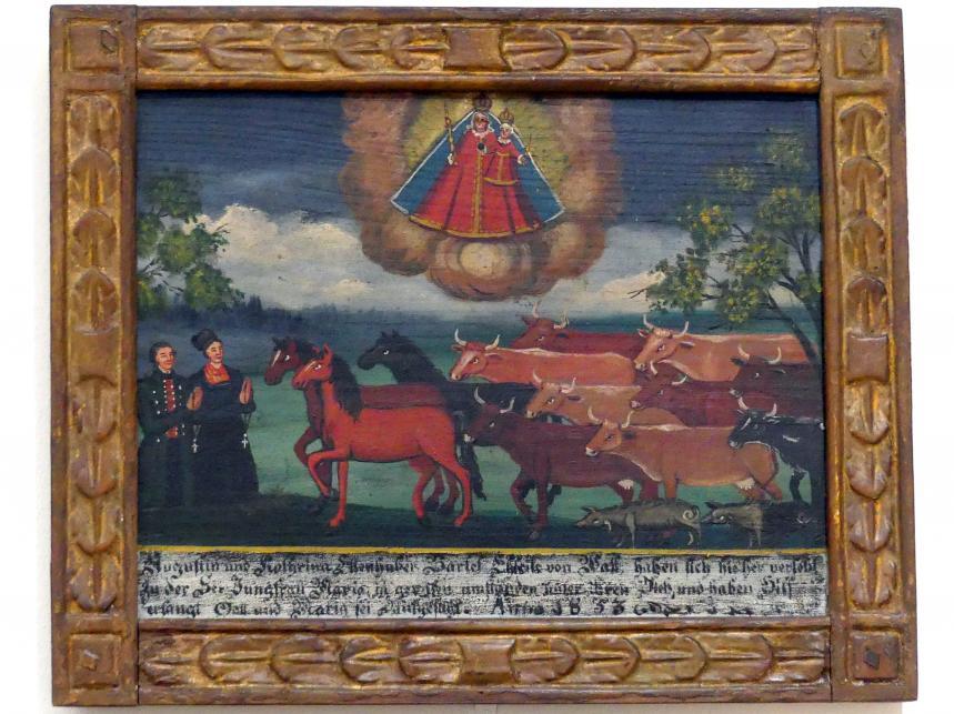 Votivtafel: Bauernpaar mit Viehherde, 1853