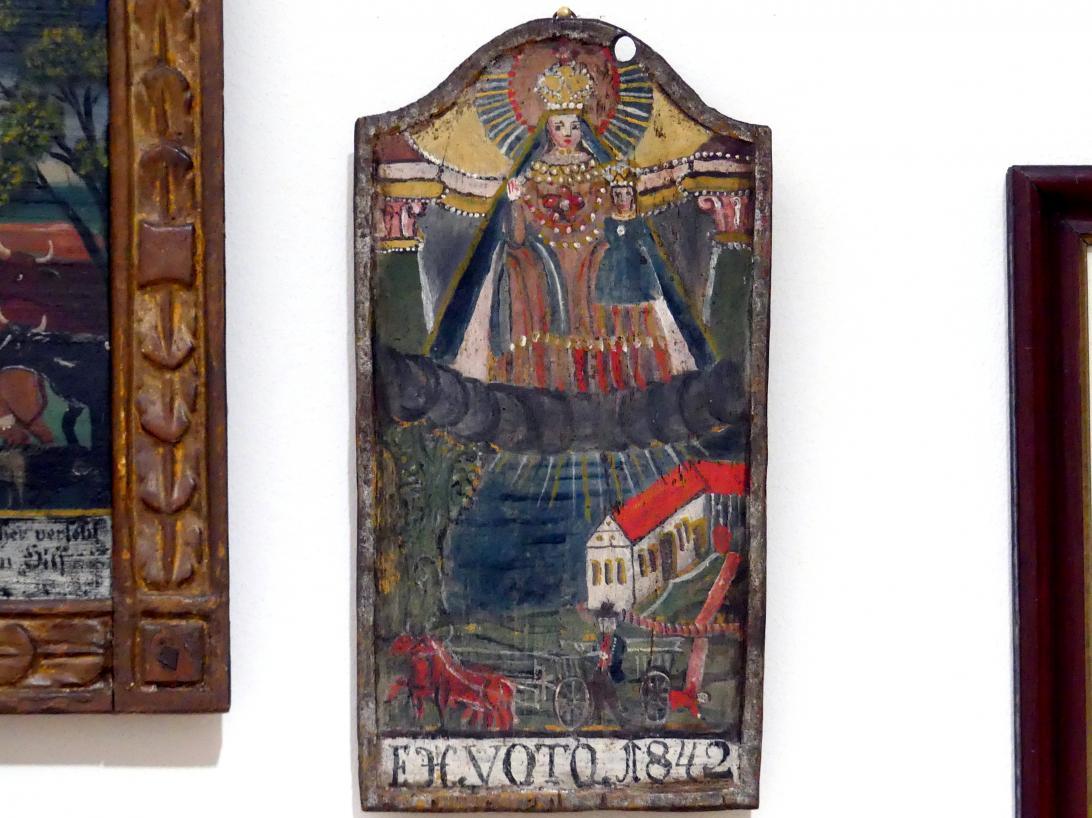 Votivtafel: Unfall mit einem Fuhrwerk, 1842