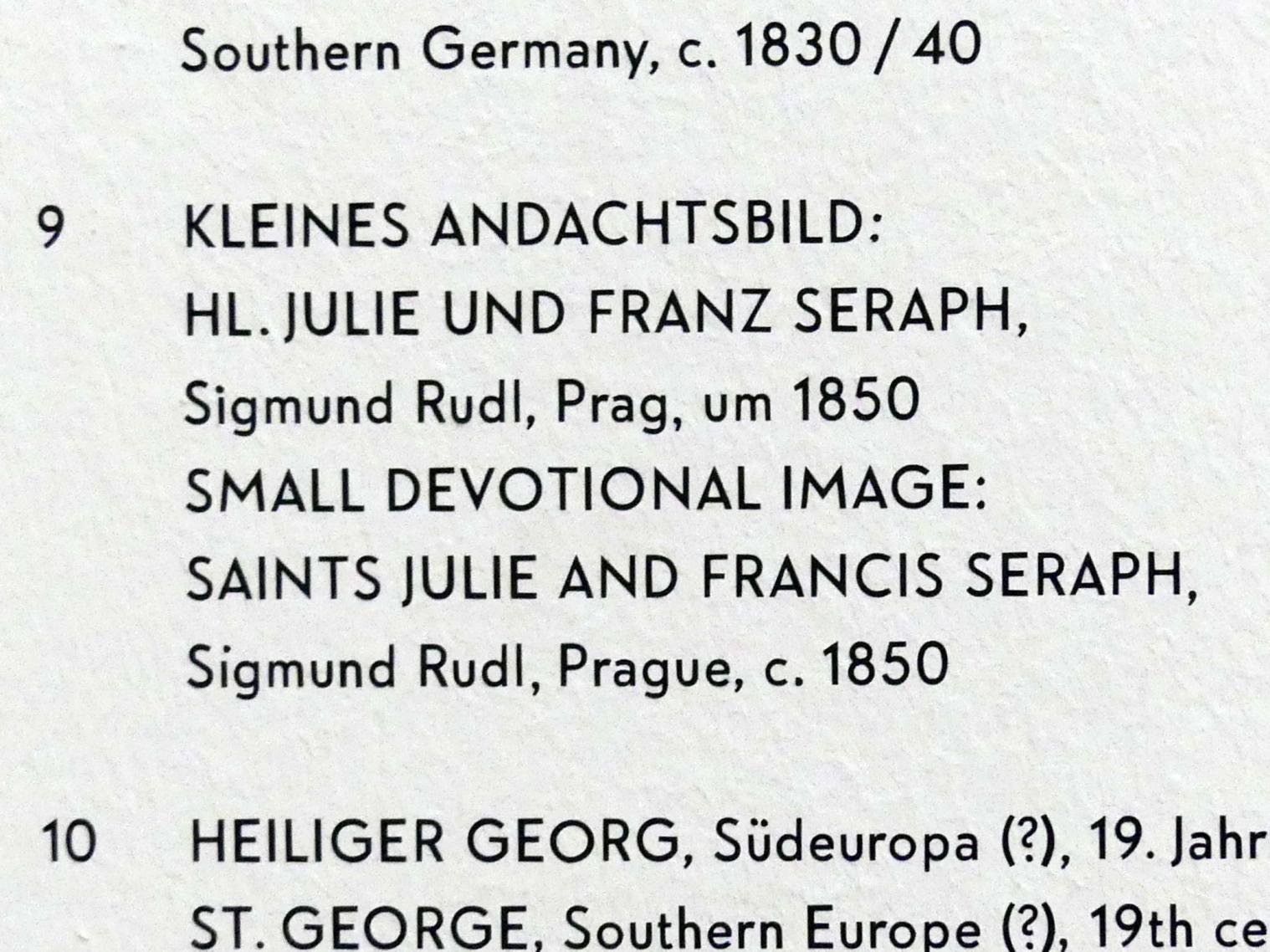 Sigmund Rudl: Kleines Andachtsbild: Hl. Julie und Franz Seraph, um 1850, Bild 2/2