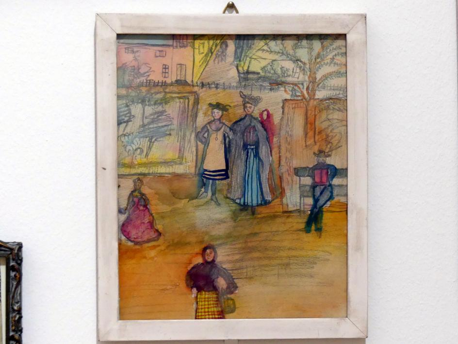 Nadežda Burljuk: Kinderzeichnung: Gutsherrin mit Tochter vor ihrem Gehöft, 1906