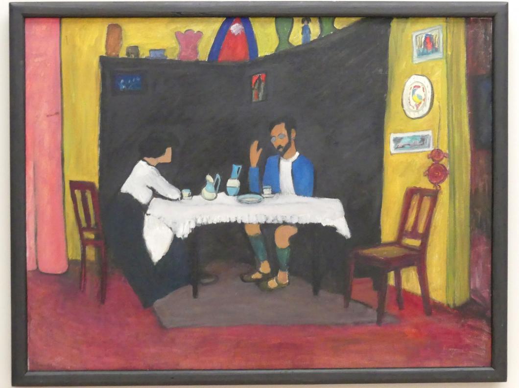 Gabriele Münter: Kandinsky und Erma Bossi am Tisch, 1912