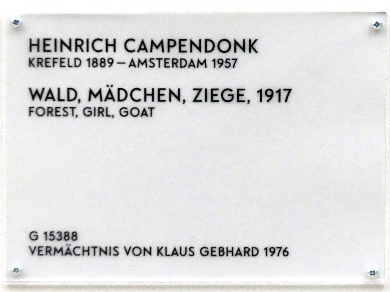 Heinrich Campendonk: Wald, Mädchen, Ziege, 1917, Bild 2/2
