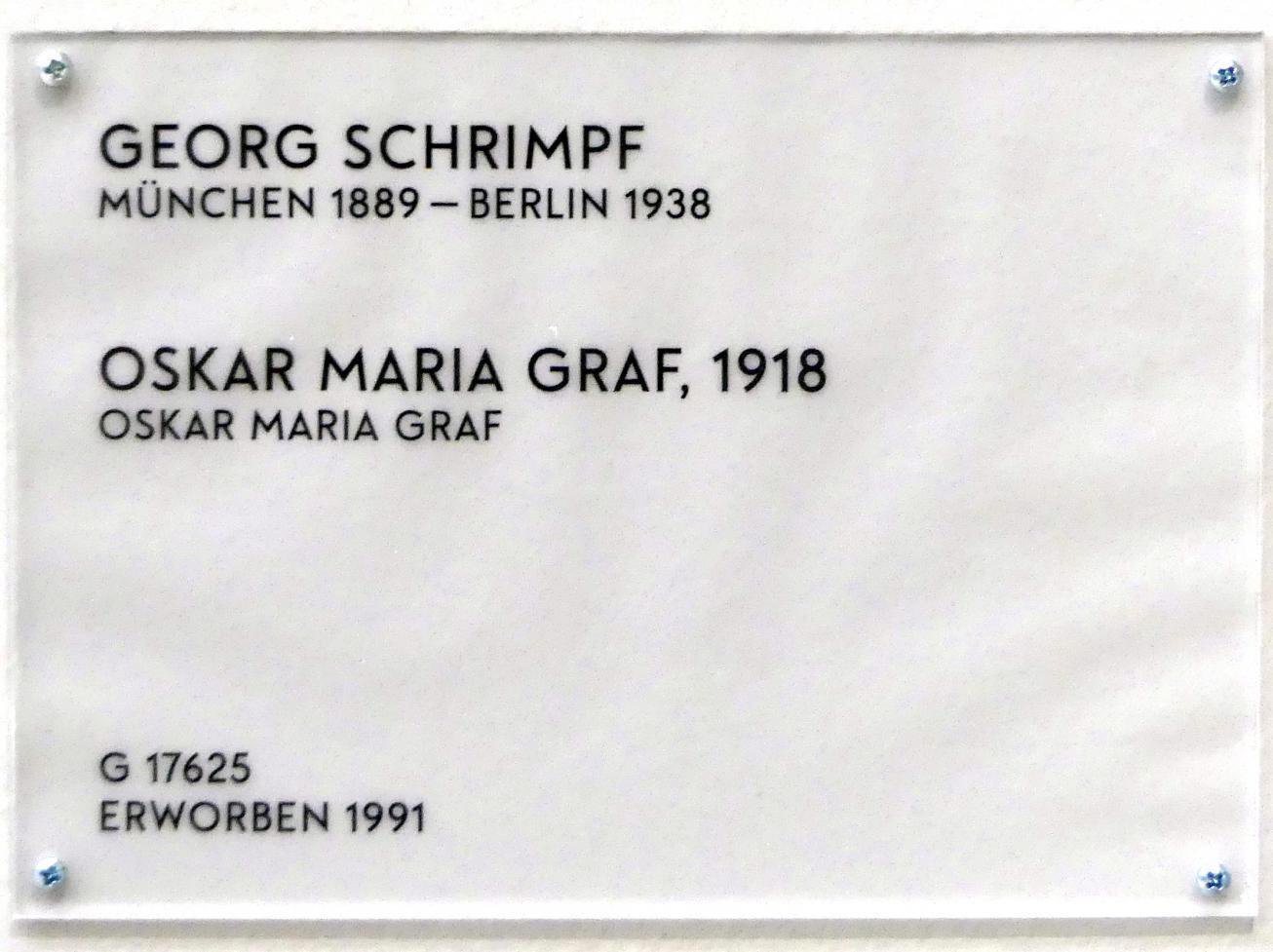 Georg Schrimpf: Oskar Maria Graf, 1918, Bild 2/2