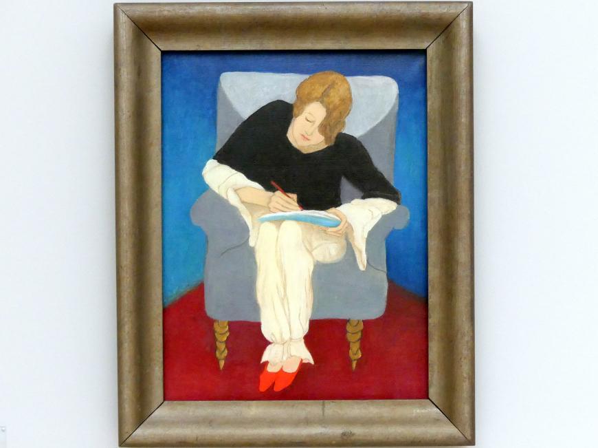 Gabriele Münter: Dame im Sessel, schreibend (Stenographie. Schweizerin in Pyjama), 1929
