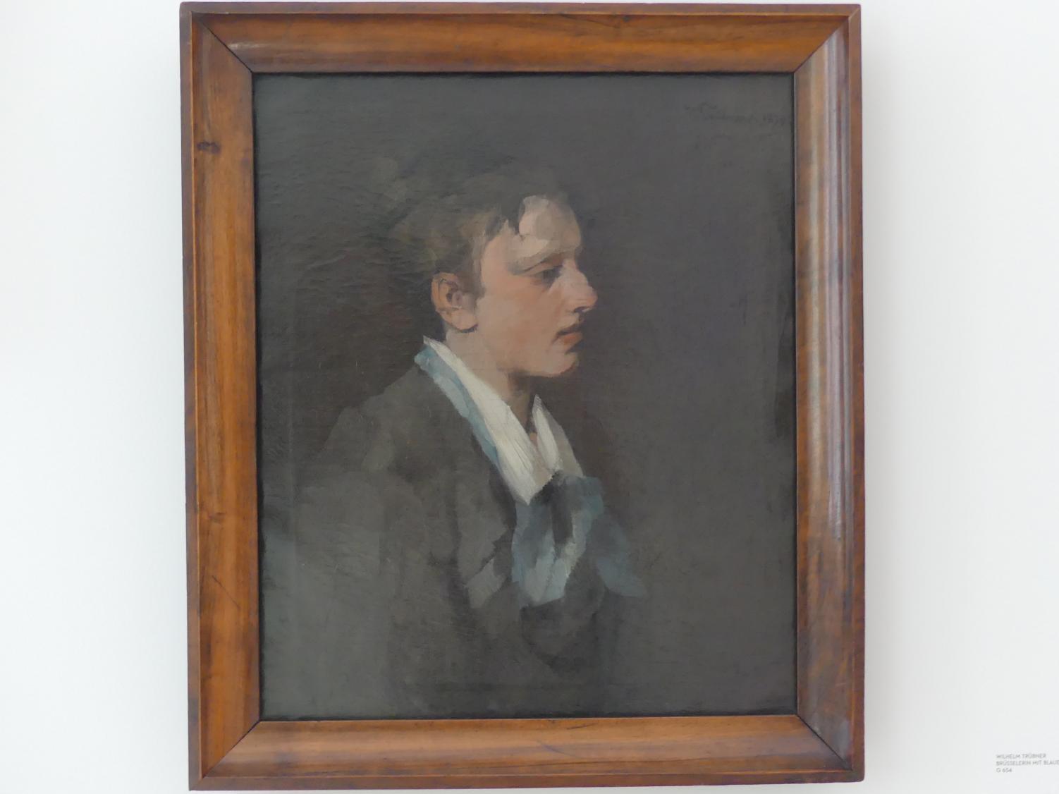 Wilhelm Trübner: Brüsselerin mit blauer Krawatte, 1874