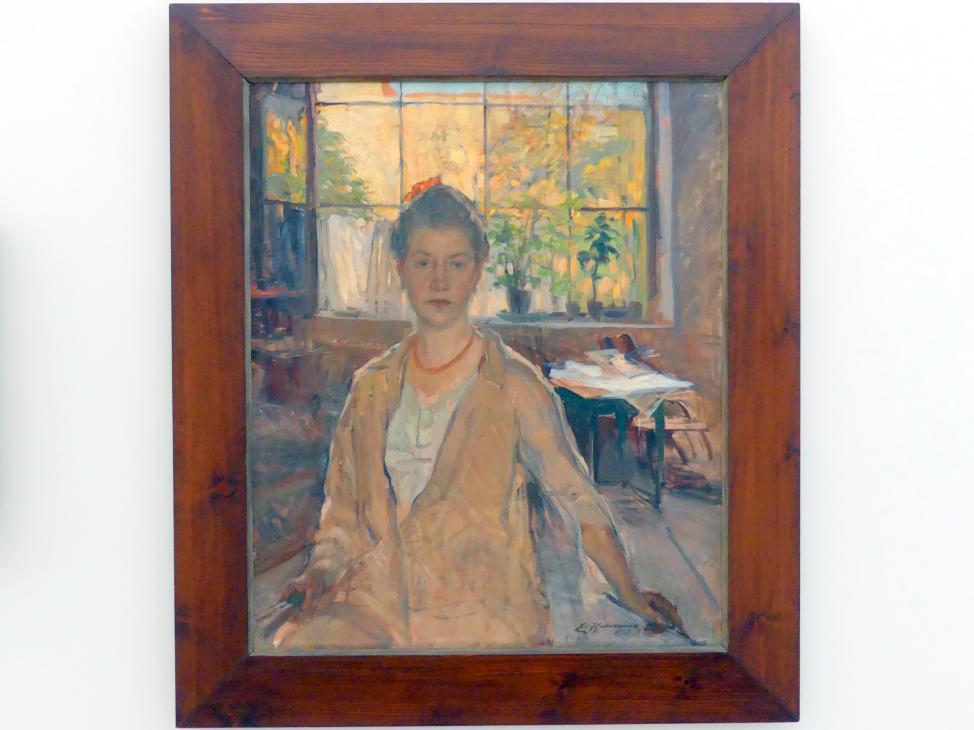 Emilie von Hallavanya: Selbstbildnis im Atelier, um 1910